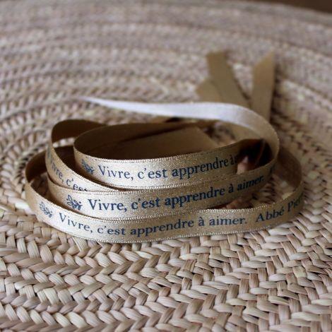 Bracelet ruban doré Abbé Pierre