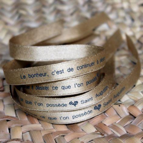 Bracelet ruban doré Saint Augustin