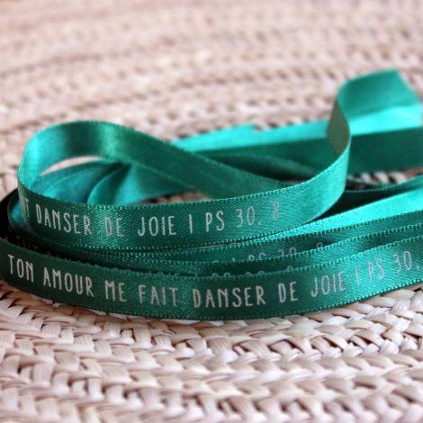 Bracelet ruban vert sapin