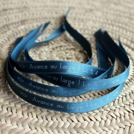 Bracelet ruban bleu gris