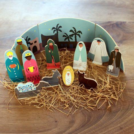 Crèche de Noël avec décors en paille